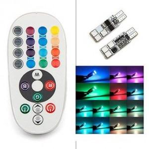 Lampara LED RGB T10-5050-6SMD de 2 piezas con control