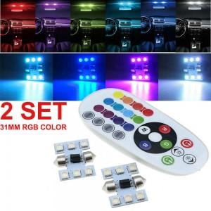 Luz RGB Festoon 5050 6SMD 31MM con control