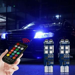 Bombilla LED de señal para coche T10 W5W, luz con Control remoto inalámbrico RF, RGB, Canbus, 10SMD 3535, 12V, 3W