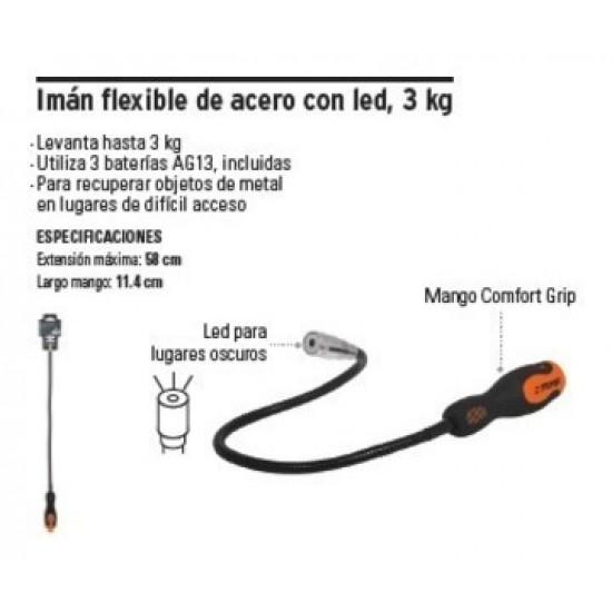 Imán extensible, flexible con LED, 3 kg TRUPER