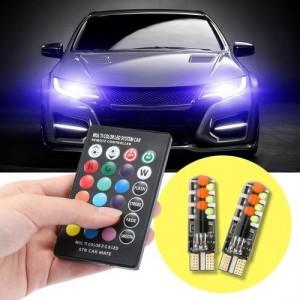 Bombilla lateral de Silicona para coche, con Control remoto, T10, COB, RGB
