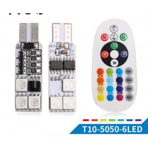 Bombillo RGB T10 5050 12SMD con control remoto de luces