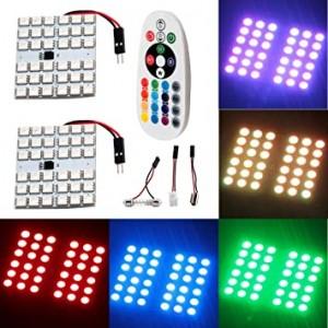 Juego de 2 bombillas LED de 4 generaciones, coloridas 5050 36 SMD, para auto, con adaptadores T10, BA9S y Festoon (CC 12 V)